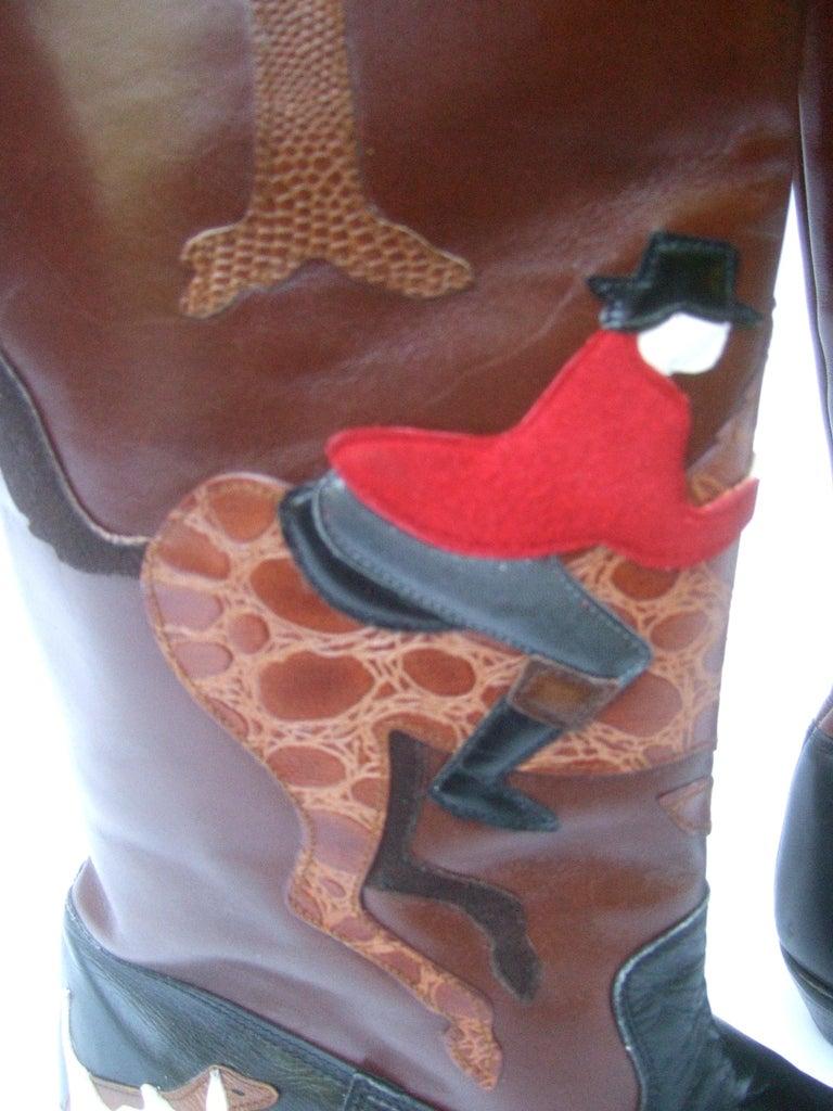 Rare Unique Hunt Scene Leather & Suede Appliqué Boots US Size 9 M c 1990 For Sale 12