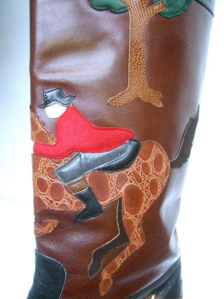 Rare Unique Hunt Scene Leather & Suede Appliqué Boots US Size 9 M c 1990 For Sale 13