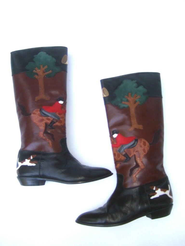 Rare Unique Hunt Scene Leather & Suede Appliqué Boots US Size 9 M c 1990 For Sale 14