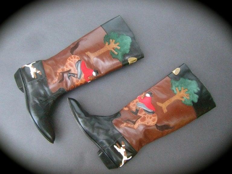 Rare Unique Hunt Scene Leather & Suede Appliqué Boots US Size 9 M c 1990 For Sale 15