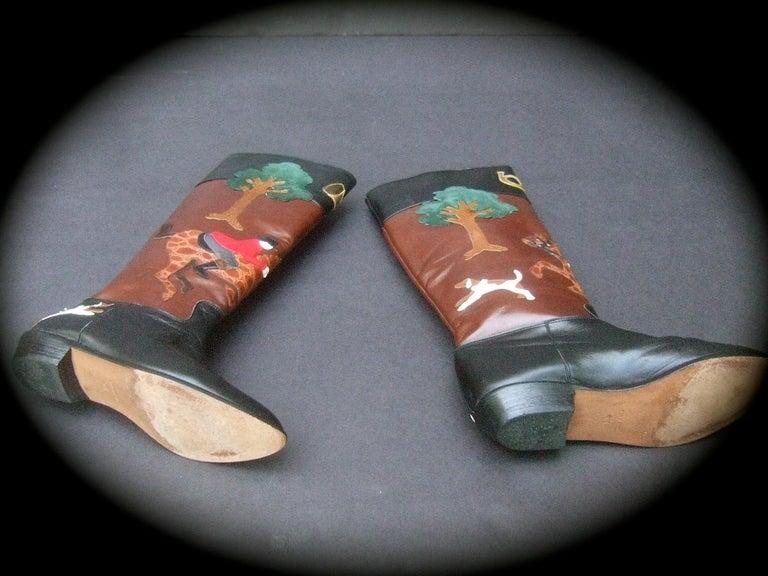 Rare Unique Hunt Scene Leather & Suede Appliqué Boots US Size 9 M c 1990 For Sale 16