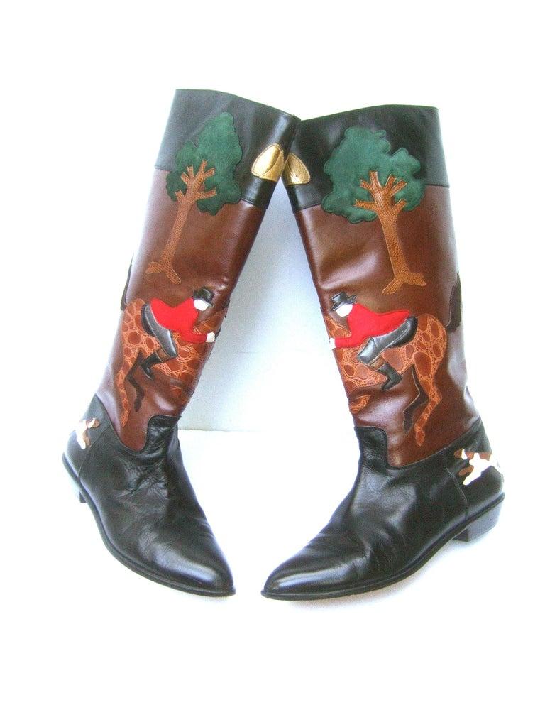 Rare Unique Hunt Scene Leather & Suede Appliqué Boots US Size 9 M c 1990 In Good Condition For Sale In Santa Barbara, CA