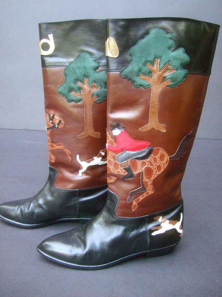 Women's Rare Unique Hunt Scene Leather & Suede Appliqué Boots US Size 9 M c 1990 For Sale