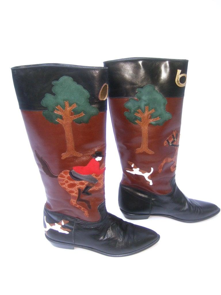 Rare Unique Hunt Scene Leather & Suede Appliqué Boots US Size 9 M c 1990 For Sale 1