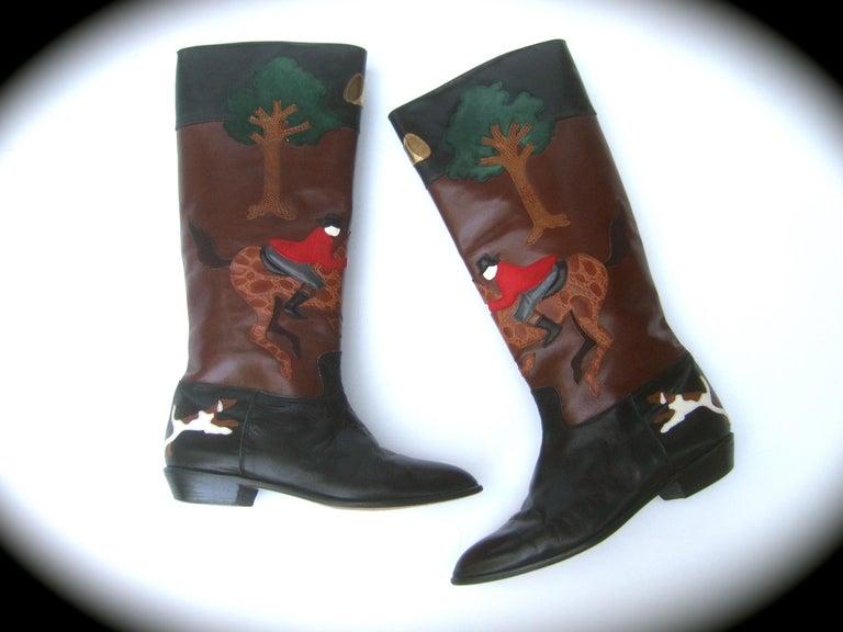 Rare Unique Hunt Scene Leather & Suede Appliqué Boots US Size 9 M c 1990 For Sale 2