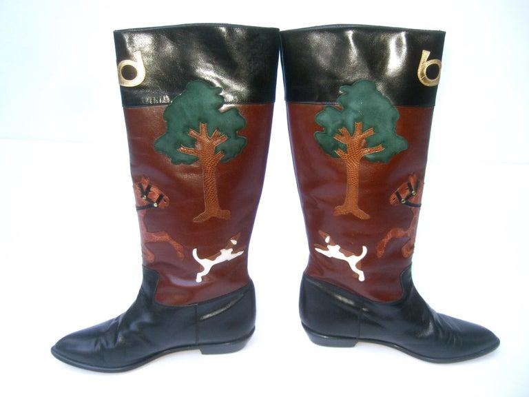 Rare Unique Hunt Scene Leather & Suede Appliqué Boots US Size 9 M c 1990 For Sale 3