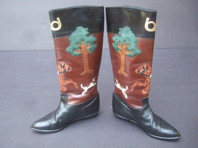 Rare Unique Hunt Scene Leather & Suede Appliqué Boots US Size 9 M c 1990 For Sale 4