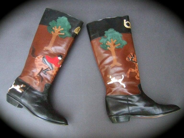 Rare Unique Hunt Scene Leather & Suede Appliqué Boots US Size 9 M c 1990 For Sale 5