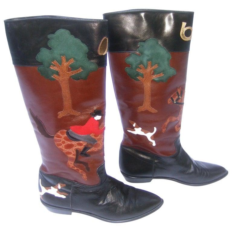 Rare Unique Hunt Scene Leather & Suede Appliqué Boots US Size 9 M c 1990 For Sale