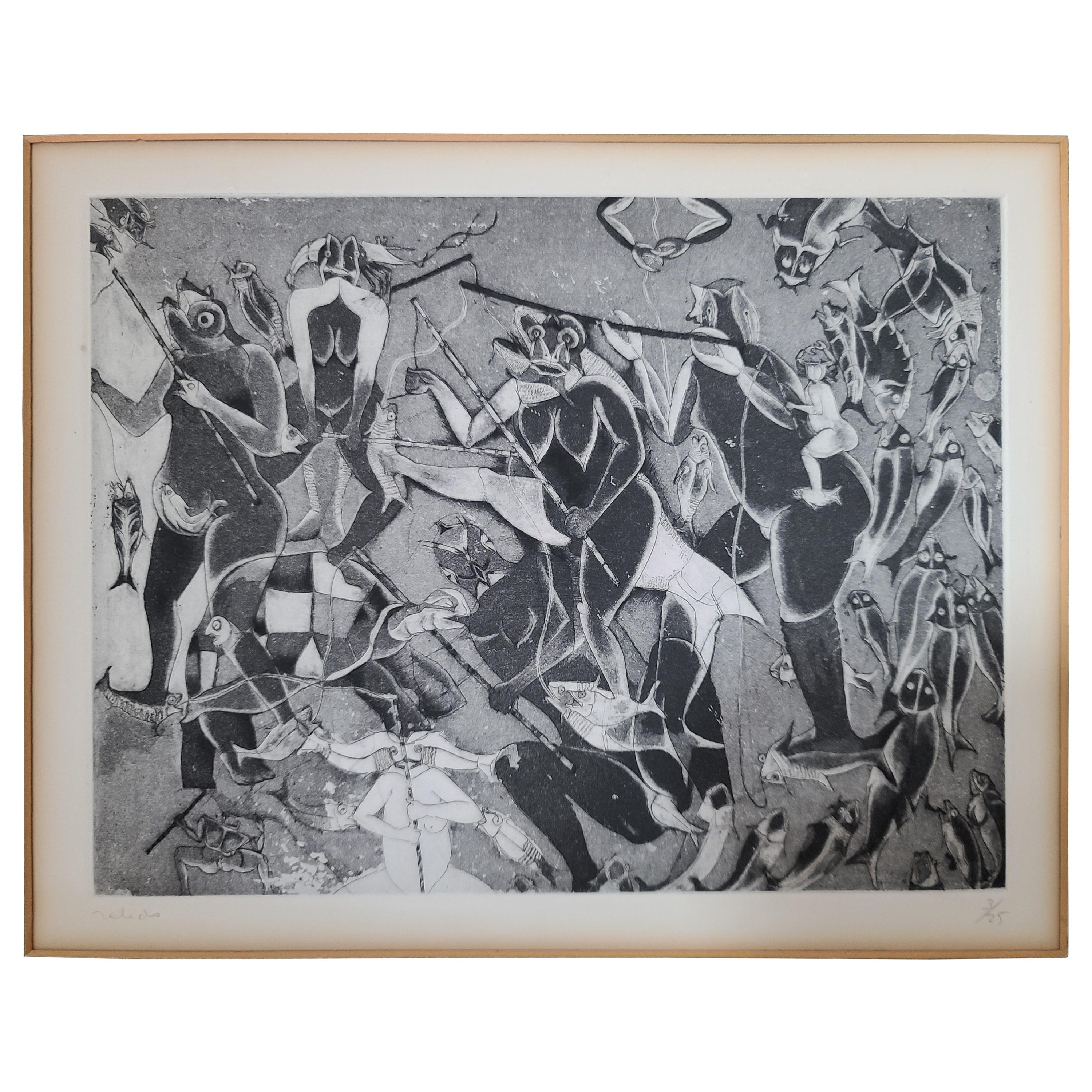 Rare Untitled Etching by Mexican Master Francisco Toledo 3/25, 1971