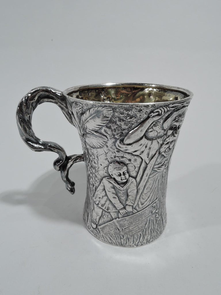 Art Nouveau Rare & Unusual Antique American Sterling Silver Baby Cup by Tiffany For Sale
