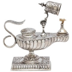 Rare, Unusual, Edwardian, Sterling Silver Aladdin's Lamp, Form Table Lighter