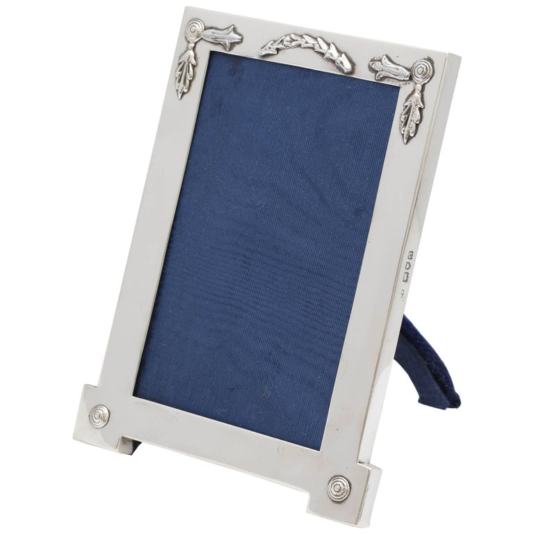 Rare, Unusual Edwardian Sterling Silver Footed Picture Frame For Sale