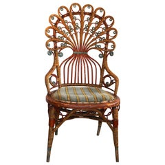 Rare Upholstered Antique Art Nouveau Rattan Peacock Arm, Dining or Side Chair