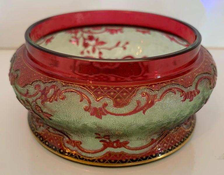 Belle Époque Rare Val St Lambert Cranberry Acid Etched Cameo Crystal Powder Jar Sterling Top For Sale