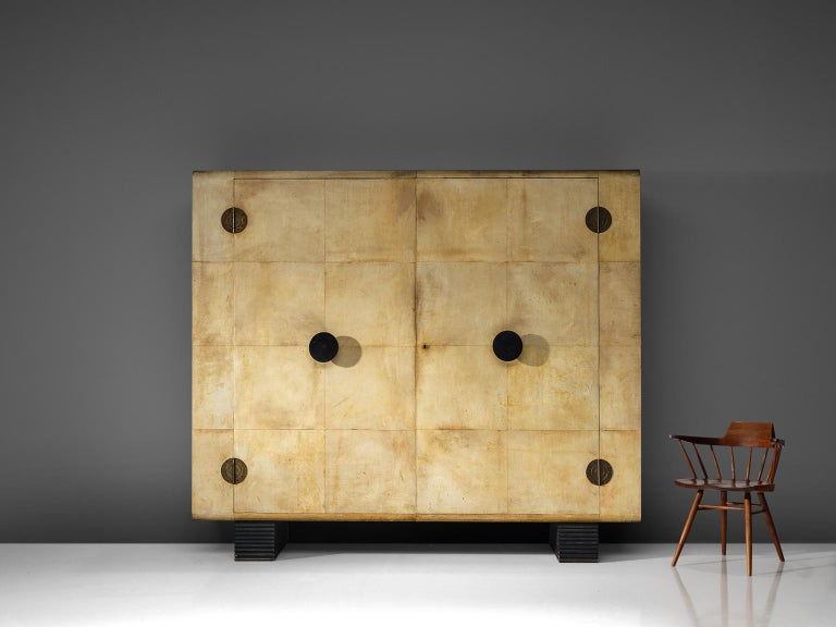 Mid-Century Modern Rare Valzania Grand Armoire in Parchment and Brass