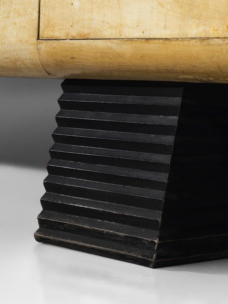 Mahogany Rare Valzania Grand Armoire in Parchment and Brass For Sale
