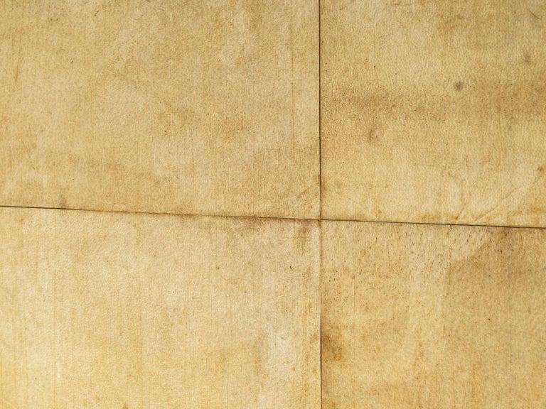 Rare Valzania Grand Armoire in Parchment and Brass For Sale 1