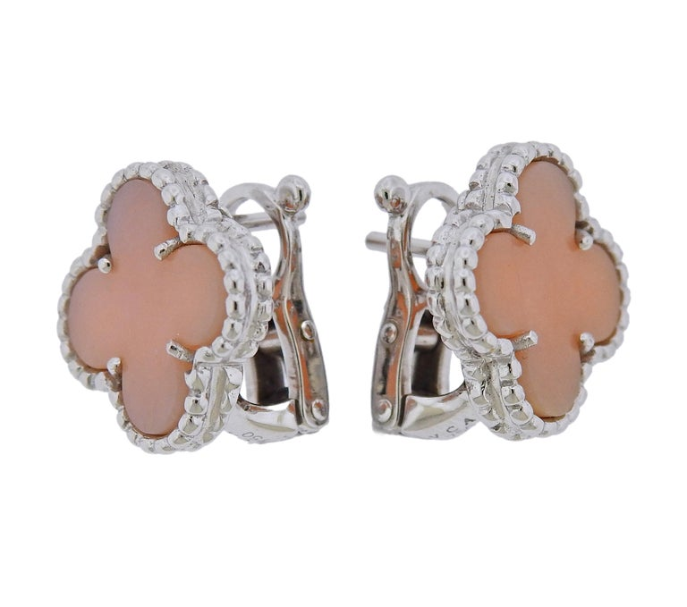 Pair of rare Vintage Alhambra earrings with pink opal, crafted by Van Cleef & Arpels as a very limited special edition collection. Earrings measure 15mm x 15mm. Weight is 8.7 grams. Marked: VCA 750, BL58***. Come with VCA box and COA .
