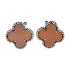 Rare Van Cleef & Arpels Vintage Alhambra Pink Opal Gold Earrings