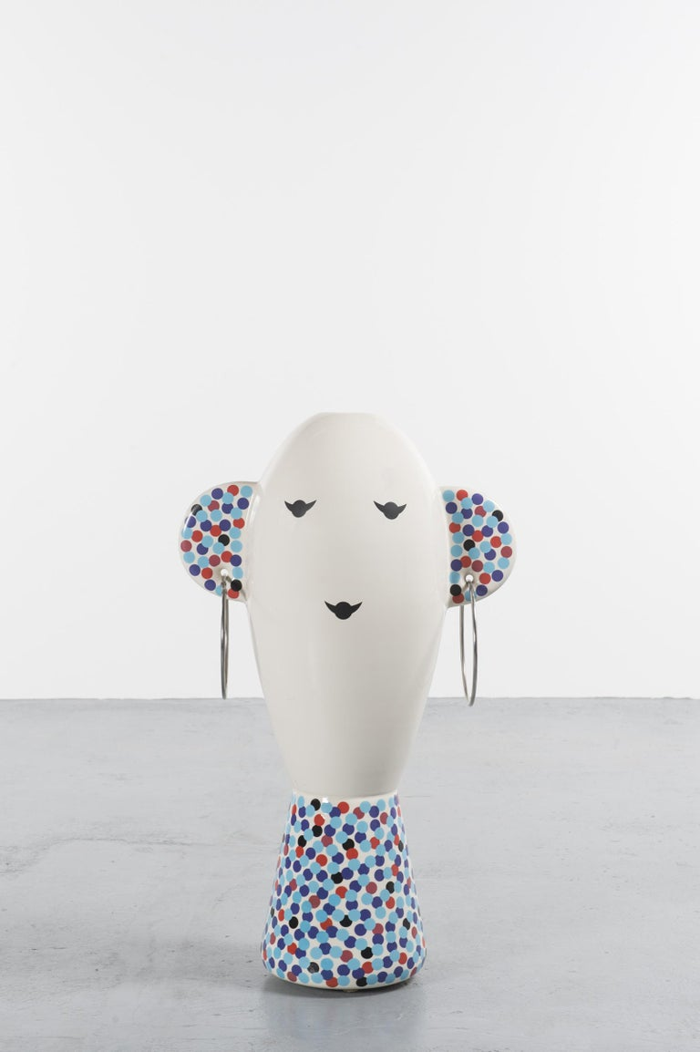 Vaso Viso TOTEM by Alessandro Mendini and Produced by Alessi, 2001, Italy  Polychrome enameled ceramic sculpture designed in 2001 by Alessandro Mendini and edited by Alessi, iconic Italian brand, in a limited edition of 99 pieces. This item is