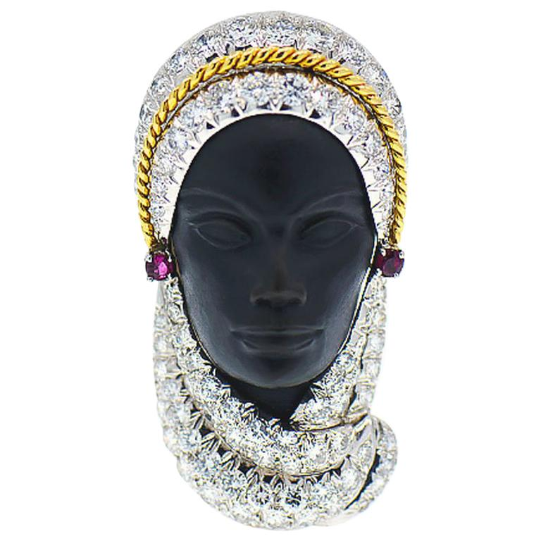 Rare Veiled Lady Brooch  For Sale