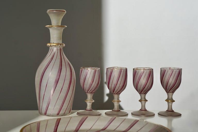 Victorian Rare Venetian Glass Liquor Set for Venini, 19th Century For Sale