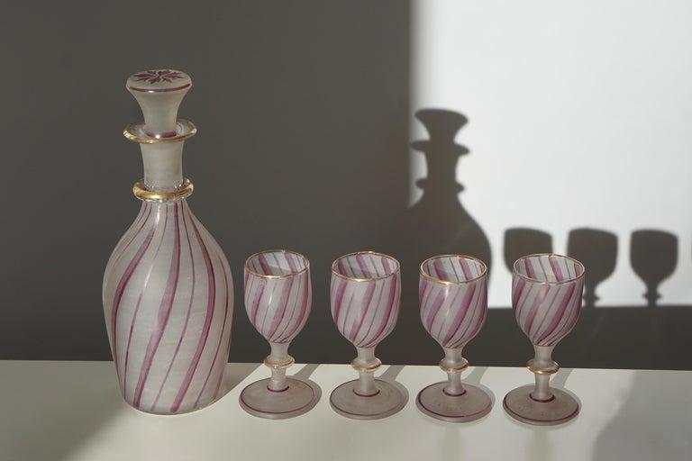 Italian Rare Venetian Glass Liquor Set for Venini, 19th Century For Sale