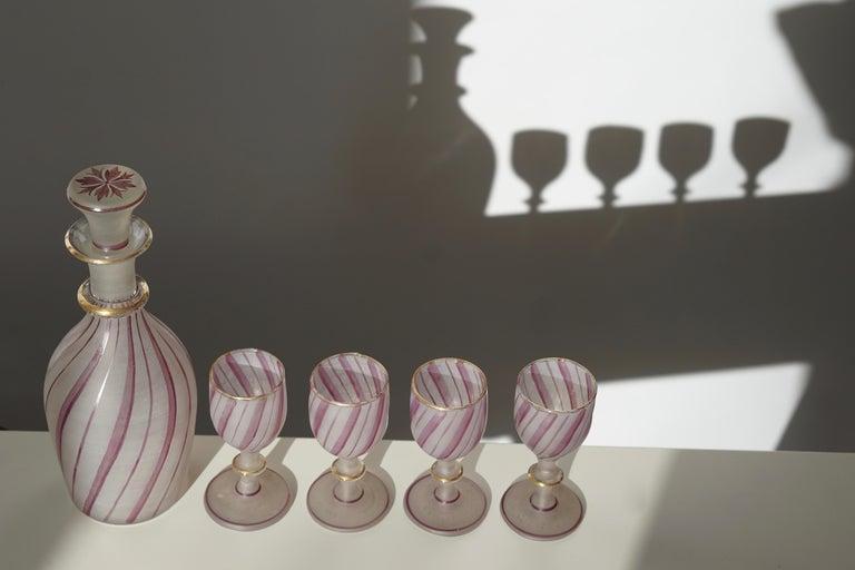 Rare Venetian Glass Liquor Set for Venini, 19th Century In Good Condition For Sale In Antwerp, BE