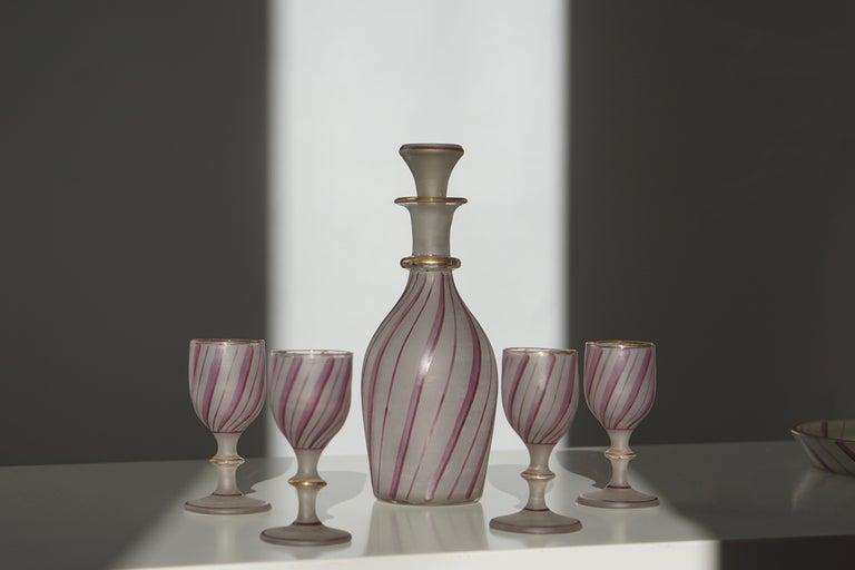 Rare Venetian Glass Liquor Set for Venini, 19th Century For Sale 4
