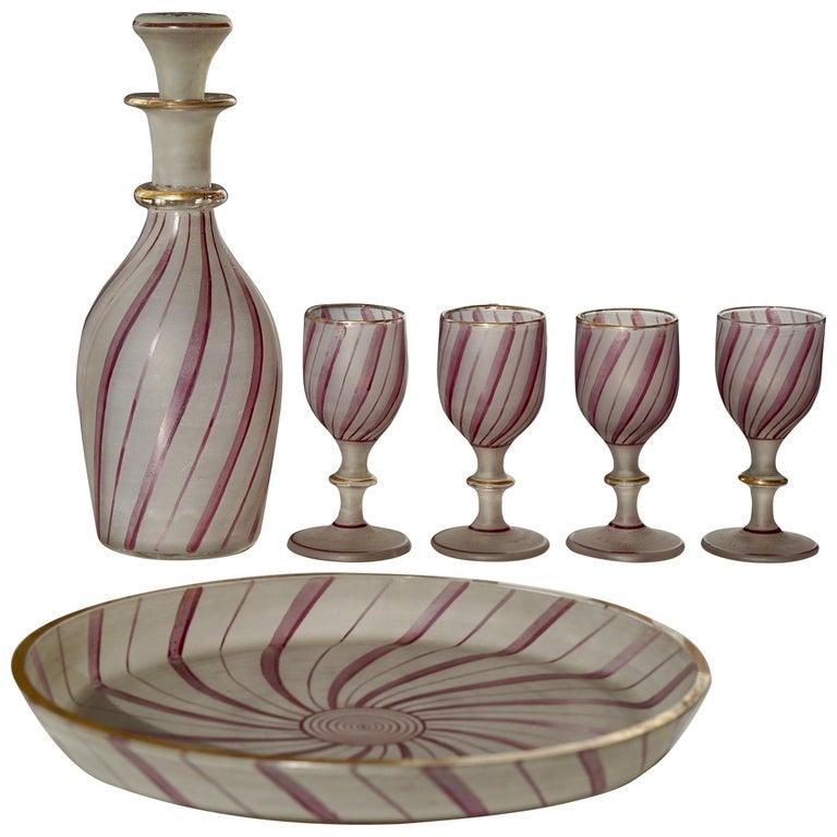 Rare Venetian Glass Liquor Set for Venini, 19th Century For Sale
