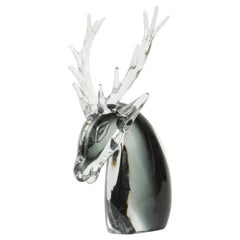 Rare Venetian Glass Sculpture Stag with Antlers, Midcentury Vintage Black Clear