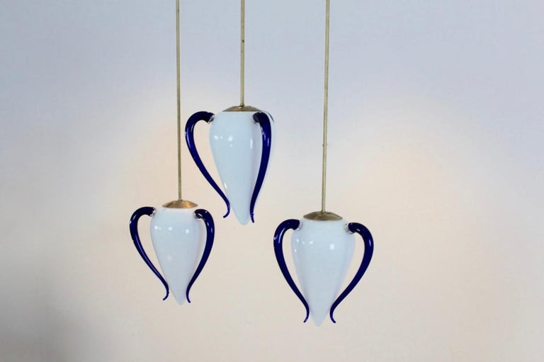 Rare 'Venexiana' Murano Glass Egg-Shaped Pendant by Barovier & Toso For Sale 3
