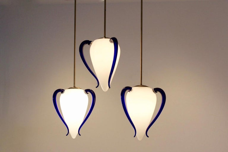 Very rare and highly sophisticated Murano glass pendants produced in Italy by Barovier & Toso in the '1960s'. The name of the lamp is, Venexiana. We have a confirmation from Barovier that these lamps are the original ones made by them. Each lamp has