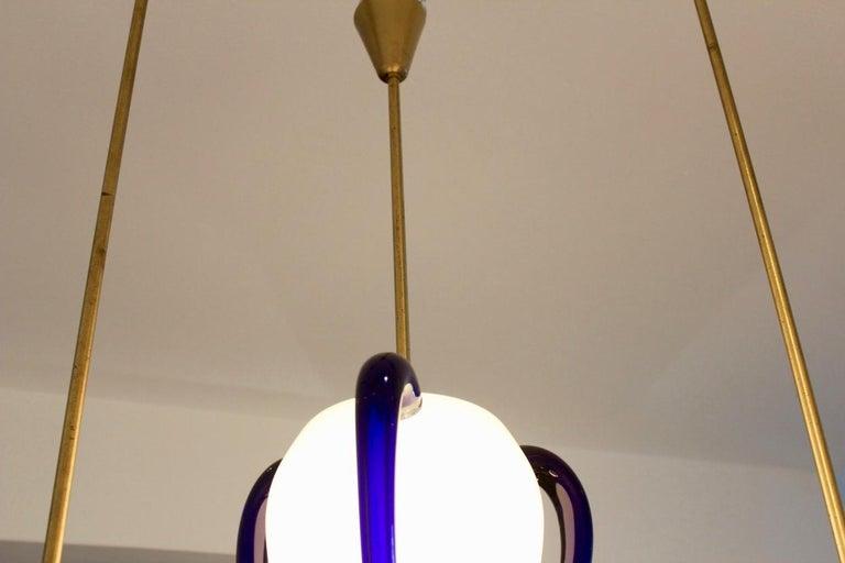 Rare 'Venexiana' Murano Glass Egg-Shaped Pendant by Barovier & Toso For Sale 1
