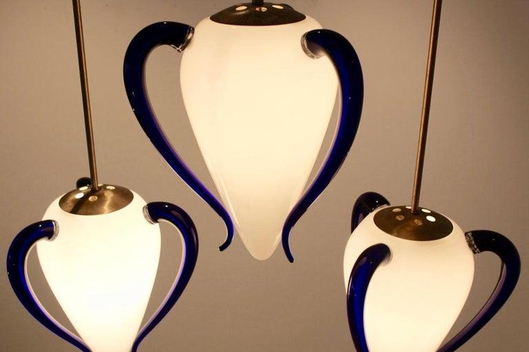 Rare 'Venexiana' Murano Glass Egg-Shaped Pendant by Barovier & Toso For Sale 2