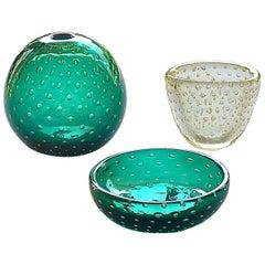 Rare Venini Carlo Scarpa 2 Glass Vases 1 Bowl A Bolle Tourmaline Green Gold 1936