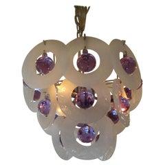 Rare Venini Style Murano Glass Pendant Chandelier