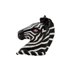 Rare Verdura Diamond and Enamel Zebra Brooch