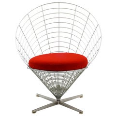 Rare Verner Panton Wire Cone Chair, Model K2, First Year Production, 1959