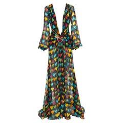 rare VERSACE 2019 Runway heart print embellished plaque silk chiffon gown IT38