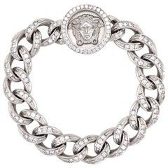 Rare Versace Medusa Diamond Cuban Link Gold Bracelet Fine Estate Jewelry