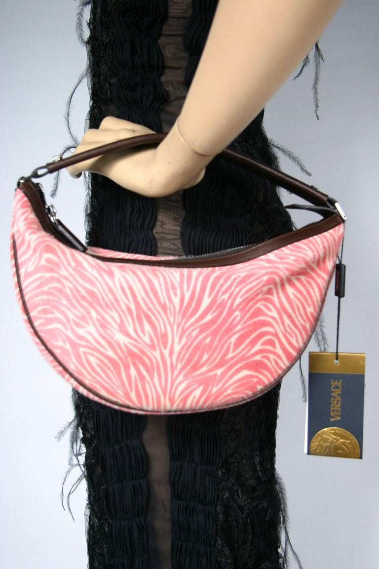 Rare VERSACE PINK ZEBRA PRINT BAGUETTE BAG ***New In New Condition For Sale In Montgomery, TX