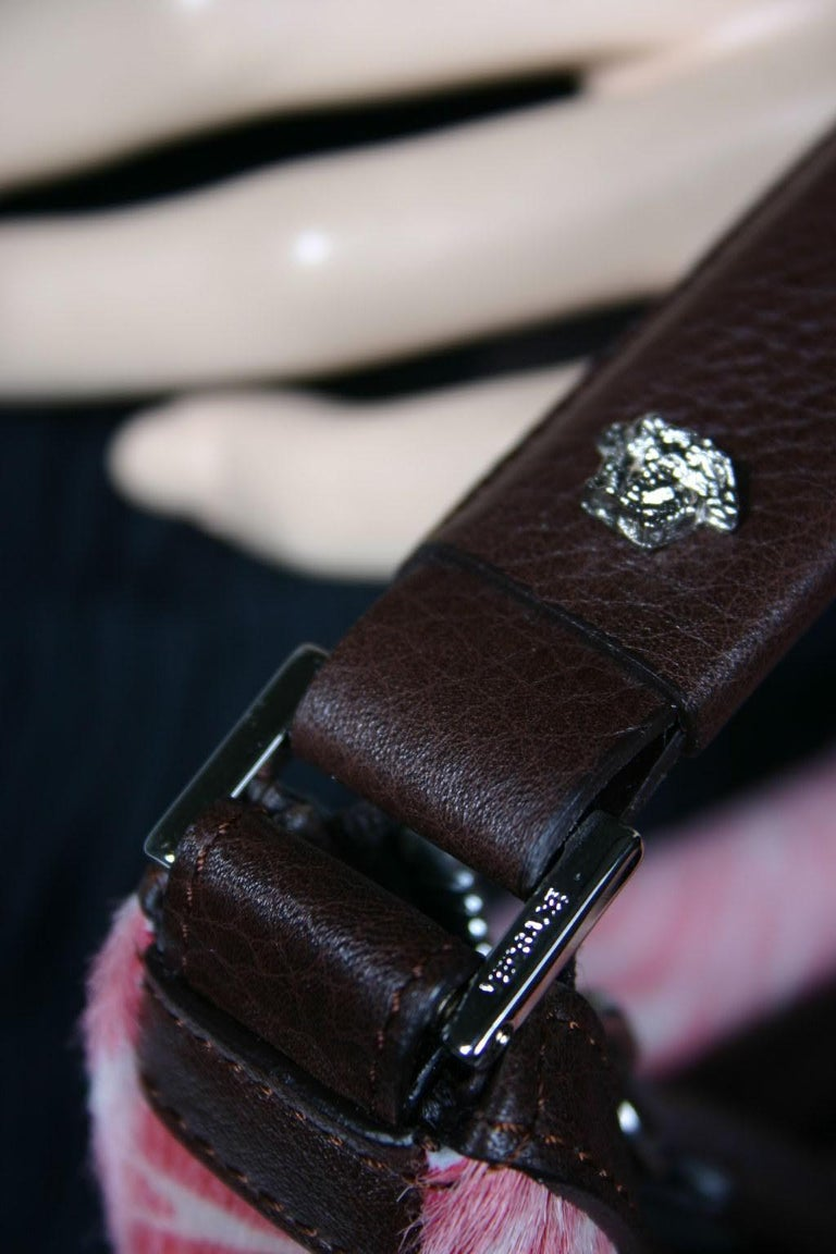 Women's Rare VERSACE PINK ZEBRA PRINT BAGUETTE BAG ***New For Sale