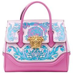 rare VERSACE SS19 Technicolor Baroque Palazzo Empire Small pink Medusa tote bag