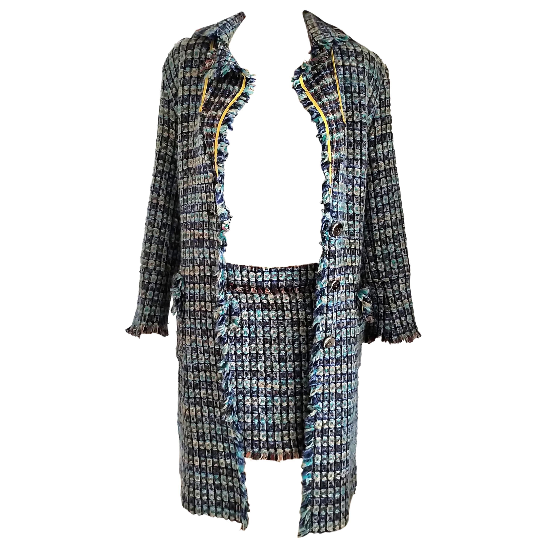 Rare Versace Versus Aqua Multi Color Tweed Runway Jacket Mini Skirt IT 42/ US 6