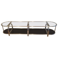 Rare Very Wide Chrome Coffee Table in 4 Elements with Clear and Black Lacquered