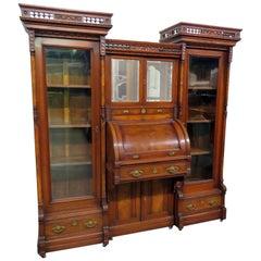 Rare Victorian 3-Piece Cylinder Desk