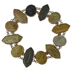 Rare Victorian 9 Carat Rose Gold and Lava Cameo Pompei Bracelet