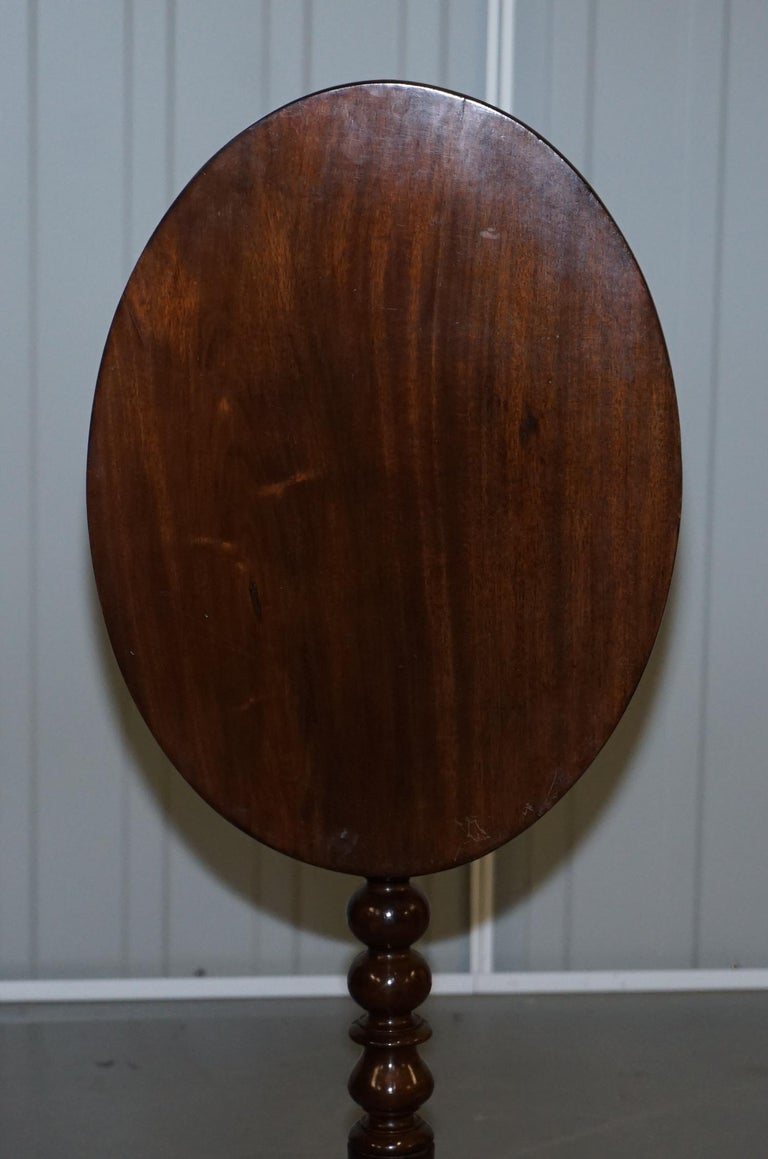 Rare Victorian Bobbin Turned Mahogany Tilt-Top Side End Lamp Wine Tripod Table For Sale 6